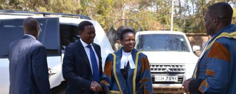 Machakos County Governor Alfred Mutua with the County Speaker Dr Florence Muoti Mwangangi outside the County Assembly in 2019