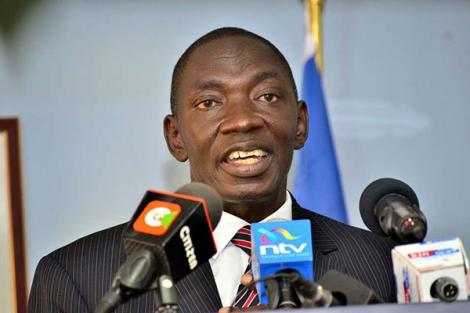 Government Spokesperson Cyrus Oguna addresses a press conference at his office in Nairobi on January 4, 2020