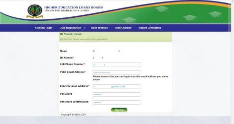 HELB portal registration interface.