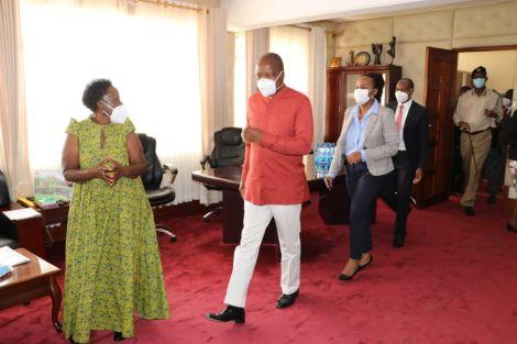 Health CS Mutahi Kagwe (Centre) touring Makueni county to assess the level of CoVid -19 preparedness on July 8, 2020.