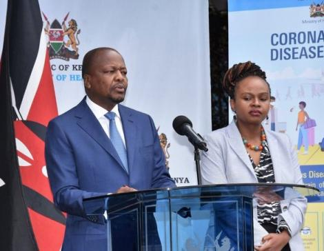 Health Cabinet Secretary Mutahi Kagwe (Left) and his Chief Administrative Secretary Mercy Mwangangi during a press briefing in March 2020.
