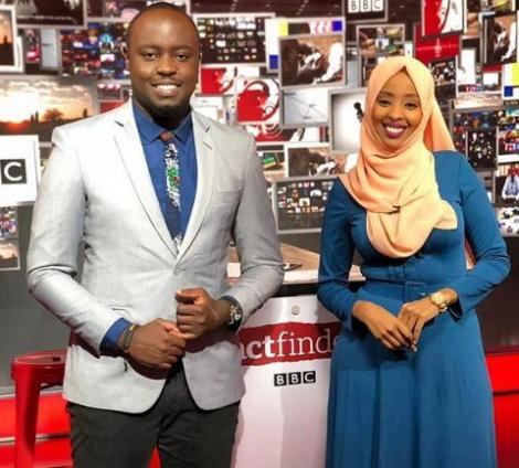 Ian Wafula (left) with Fathiya Mohamed Nur May 9, 2019.