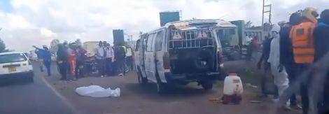 Image of a body lying along Mombasa Road on November 24, 2020.