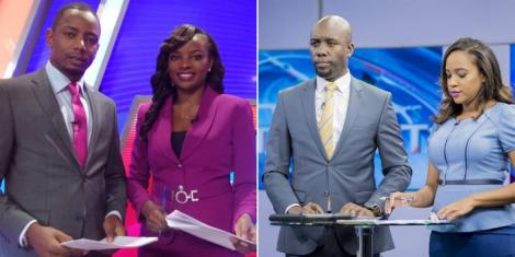 Inooro TV news anchors Ken wa Kuraya and Muthoni wa Mukiri & NTV duo Dennis Okari and Olive Burrows