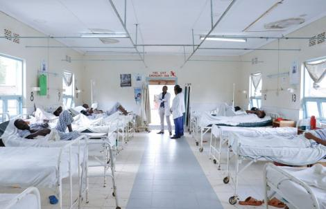 Medics and patients in a ward at the Kerugoya Level Four Hospital.