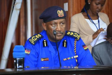 Inspector-General of Police Hillary Mutyambai speaking at the special sitting held by the National Assembly's Committee on Education on February 26.