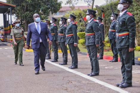 Inland CS Fred Matiang'i inspects a parade during the official opening of the training of 161 officer cadets in Ruiru on Thursday, December 10, 2020.