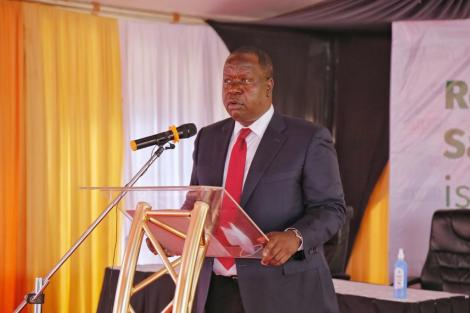 Interior CS Fred Matiang'i speaks during National Safety Roads Programme on Wednesday, October 28, 2020.