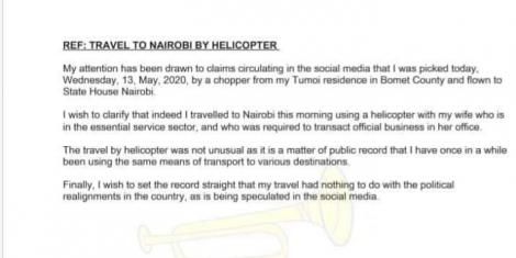 A statement issued by former Bomet Governor Isaac Ruto on Wednesday, May 13, 2020