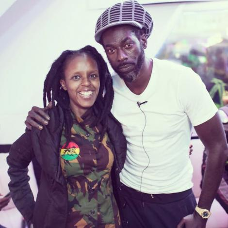 Jahmby Koikai (Left) and Jamaican Singer Buju Banton strike a pose.