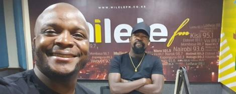 Milele FM presenter Jalang'o and Alex Mwakideu at Mediamax studios on May 13, 2020