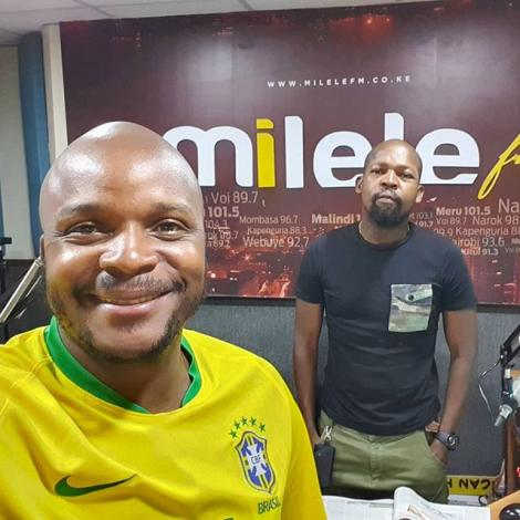 In front: Felix Odiwour (Jalang'o) with Milele FM co-host Alex Mwakideu at MediaMax studios on Friday, April 17, 2020
