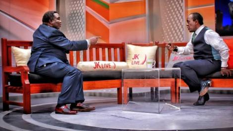 COTU Secretary-General Francis Atwoli with Citizen TV's Jeff Koinange on JK Live in September 2019