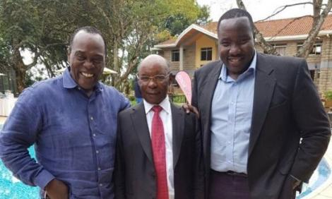 From left to right: Citizen TV journalist Jeff Koinange, Royal Media Services owner SK Macharia and Citizen TV presenter Willis Raburu pictured on December 31, 2018.