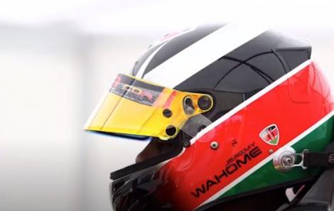 Jeremy Wahome pictured in his racing helmet.
