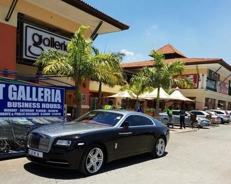 Jimmy Wanjigi's Rolls-Royce Provenance Phantom Coupe pictured at the Galleria Mall in Nairobi.
