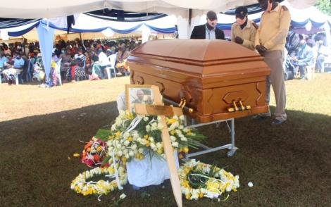 Athlete Ben Jipcho's casket pictured at his funeral in Trans Nzoia County on Friday, July 31