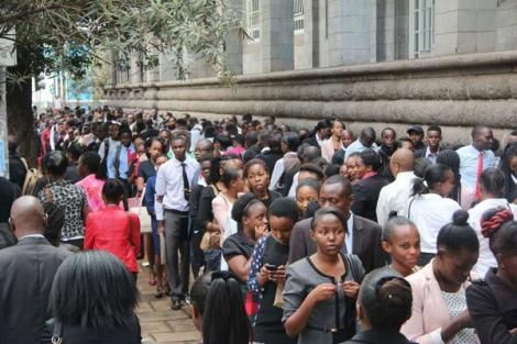 A photo of jobseekers queuing on Wabera Street, Nairobi, waiting to be interviewed by The Sarova Stanley on May 26, 2018.
