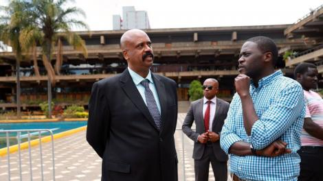 Nairobi Metropolitan Services Director General Mohamed Badi and Senator Johnson Sakaja on Thursday, March 26, 2020.