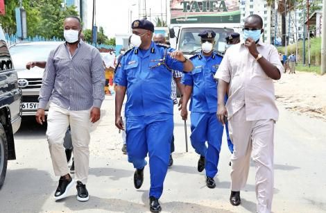 Mombasa Governor Ali Hassan Joho pictured with Police Inspector-General Hillary Mutyambai in Mombasa on March 15, 2020