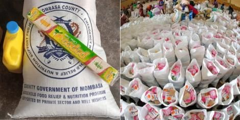 A file image of foods donated by Mombasa Governor Hassan Joho