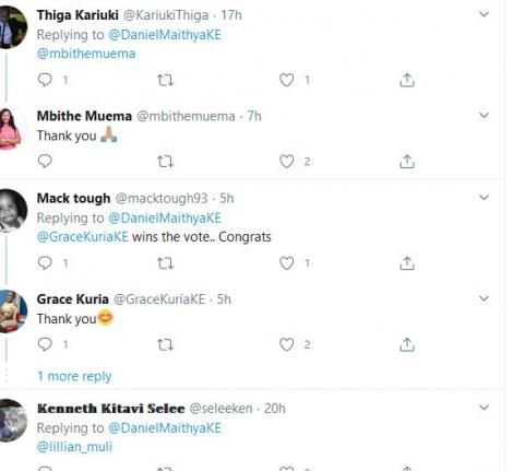 A screenshot of some of the responses to the poll by Daniel Maithya on May 6, 2020.