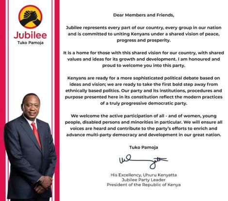 President Uhuru Kenyatta's statement on Jubilee Party on Sunday, May 31, 2020