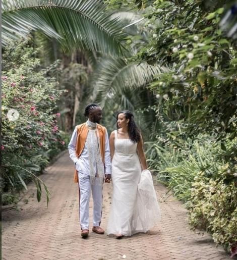 Junior Nyong'o and Wanja Wohoro pictured at their wedding on July 30, 2020