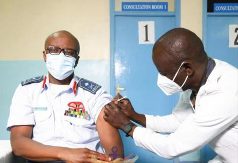 Commander Kenya Air Force (KAF) Major General Francis Ogolla on Wednesday, 10 March 2021, taking part in the ongoing Kenya Defence Forces (KDF) COVID -19 vaccination exercise at Moi Air Base (MAB) in Nairobi.