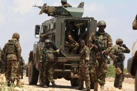 KDF soldiers during one of their missions in Somalia.