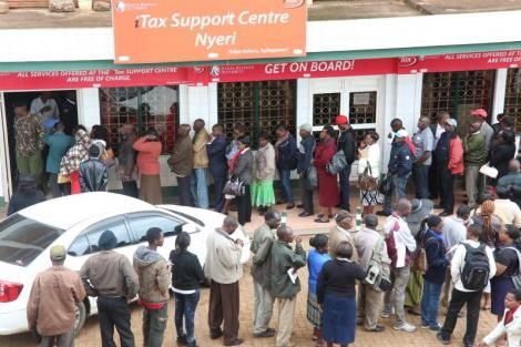 A photo of residents queueing outside the Kenya Revenue Authority (KRA) office in Nyeri in June 2017 ahead of the deadline to file their tax returns.