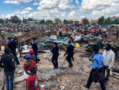 Residents pictured in Kariobangi North, Nairobi after evictions took place on May 4. 2020