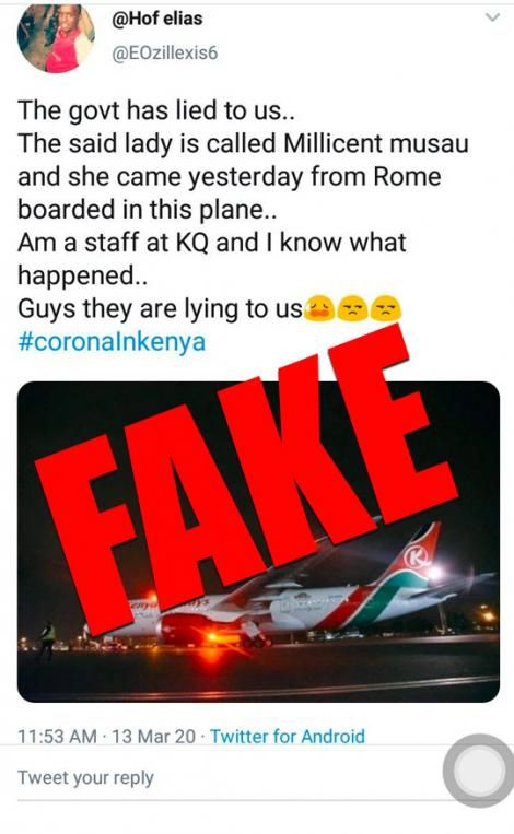 An alert by Kenya Airways on Friday, March 14, 2020