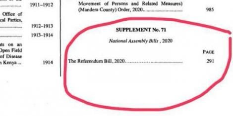 The Referendum Bill published in the Kenya Gazette on Friday, May 15, 2020