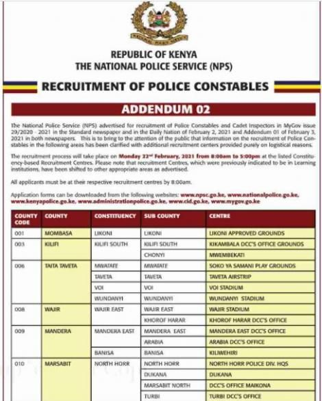 Kenya Police notice on changes in constable recruitment process