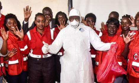 Kenya Red Cross paramedics and volunteers at the Nakuru County Level 5 Hospital during a training exercise on the proper use of Personal Protective Equipment (PPEs) in light of the Covid-19 pandemic on Sunday, March 15, 2020.