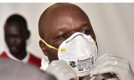 A photo of Kenya Red Cross paramedics and volunteers at the Nakuru County Level 5 Hospital during a training exercise on the proper use of Personal Protective Equipment (PPEs) in light of the Covid-19 pandemic on Saturday, March 15, 2020.