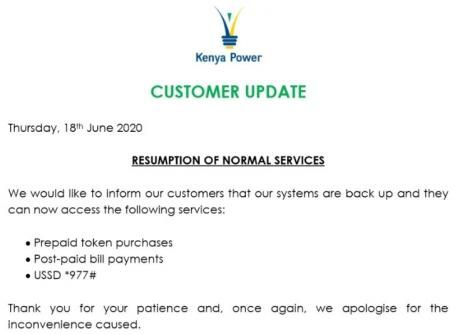 Kenya Power announcing the resumption of token services.