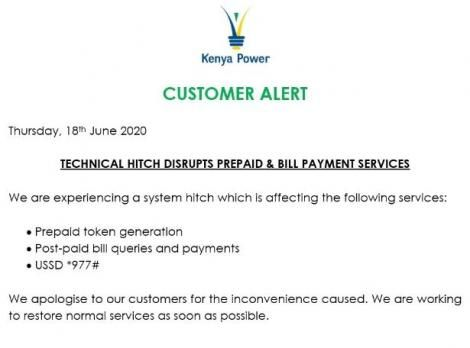 A notice by Kenya Power on the disruption of prepaid services.