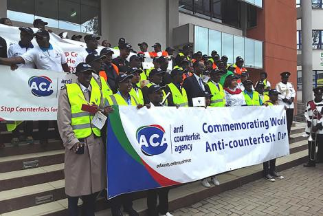 Kenya's Anti-Counterfeit Agency (ACA) officials marking the World Anti-Counterfeiting Day(WACD) in Nairobi on June 26, 2018.