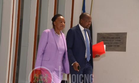 Kenya's Defense Cabinet Secretary Monica Juma and Health Cabinet Secretary Mutahi Kagwe pictured following a meeting held on March 30, 2020.