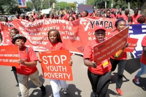 Kenyan youth march against poverty and undereployment in 2016
