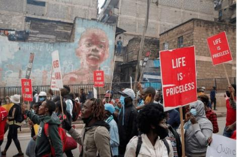 Kenyans march in Nairobi on June 8, 2020, to protest against police brutality during the coronavirus pandemic