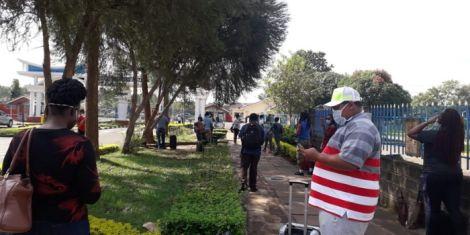 Kenyans quarantined at Kenyatta University protest against the government on Wednesday, April 15, 2020