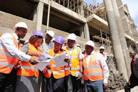 Kirinyaga Governor Anne Waiguru leads inspection of a Modern Hospital Complex under construction at the Kerugoya Referal Hospital on Wednesday, March 11, 2020.