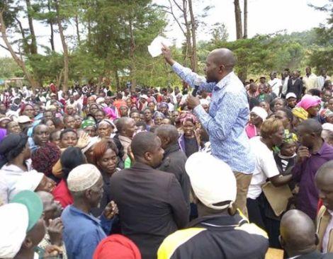 Saboti MP Caleb Amisi addressing his constituents at Kinyoro Ward on Feb 3, 2020
