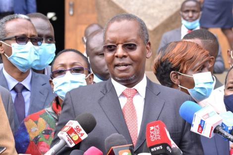 Kipipiri MP Amos Kimunya addressing the press After a Jubilee PG Meeting at KICC on Monday, June 22, 2020.