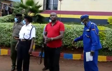 Lawrence Kiragu Mugendi (red) when he was paraded by the police at Chuka Police Station, Tharaka Nithi County on January 12, 2021.