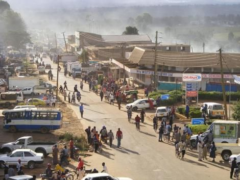 An aerial view of Kitale town