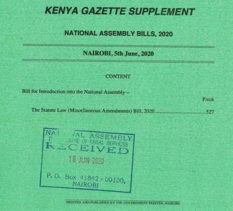 The Statute Law (Miscellaneous Amendments) Bill 2020.